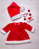 Set of christmas baby girl clothes Stock Photography