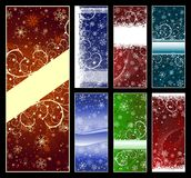 Set of Christmas backgrounds. Set of abstract Christmas backgrounds with snowflakes, stars and copy-space. Vector eps8 Royalty Free Stock Images