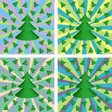 Set of Christmas backgrounds. Set of four Christmas backgrounds with fir-trees Royalty Free Stock Photo
