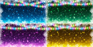 Set of Christmas backgrounds. With garlands Stock Photo