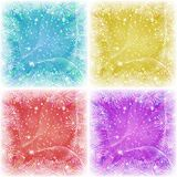 Set of Christmas backgrounds. For holiday design with stars pine branches, confetti and rays blue, yellow, red and violet Stock Photography