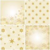 Set of christmas backgrounds with snowflakes. Set of 4 christmas backgrounds with snowflakes. Vector illustration. Two backgrounds are seamless patterns, and Royalty Free Stock Image