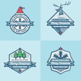 Set of christmas Badges Labels Banners Flat Design Vector Set Royalty Free Stock Photos