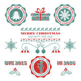 Set of Christmas badges stock illustration