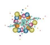 Set of Christmas Ball Decoration on Fir Twigs Stock Photography