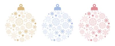 Set of christmas ball decoration with snowflakes and stars in different colors vector illustration