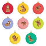 Set of christmas ball. Funny Cartoon Puppy in Different Poses. New Year Puppy. Royalty Free Stock Photography