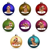 Set of christmas ball. Funny Cartoon Puppy in the hat of Santa in Different Poses. New Year Puppy. Royalty Free Stock Photo