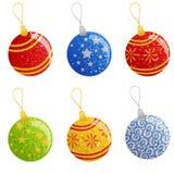 Set of Christmas balls. Set of six colorful Christmas balls Royalty Free Stock Photos