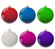 Set of christmas balls. Multi-colored Christmas balls hanging on white. 3d render with HDR Stock Photos