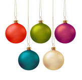Set of christmas balls. Set of five christmas ball in various colors, isolated Stock Image