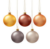 Set of christmas balls. Set of five christmas ball in various colors, isolated Royalty Free Stock Images