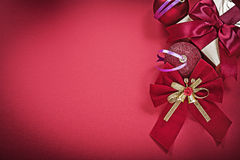 Set of Christmas balls bow present box holidays concept Stock Photo