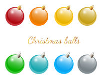 Set of christmas balls. Set of colorful christmas balls on white background Royalty Free Stock Photography