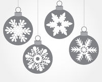 Set of Christmas balls decorated with snowflakes Stock Images