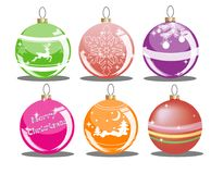 Set of Christmas balls. Of different colors with drawings Royalty Free Stock Photo