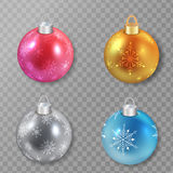 Set of Christmas balls in different colors . Vector illustration. Stock Photo