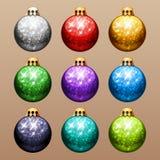 Set of Christmas Balls with Glitter Stock Photos
