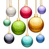 Set of Christmas Balls with Glitter Stock Image