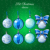 Set of Christmas balls on a green background. For your design needs Stock Photos