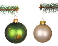 Set of Christmas Balls hanging on a tree Royalty Free Stock Image