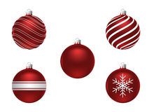 Set of Christmas balls. Set of red Christmas balls on white background. Isolated vector illustration Royalty Free Stock Photography