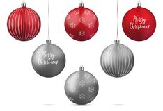 Set of Christmas balls. Set of realistic vector red and silver Christmas balls Royalty Free Stock Photos
