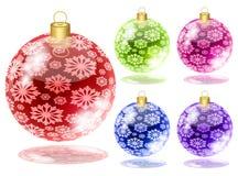 Set of christmas balls with snow Stock Photo