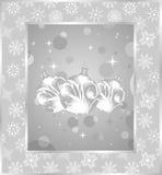 Set Christmas balls on snowflakes background Royalty Free Stock Photo
