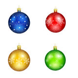 Set of christmas balls with snowflakes for decorations Stock Photos