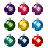 Set of Christmas balls on white background Stock Photos
