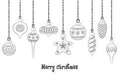 Set of christmas balls on the white background. Vector illustration Royalty Free Stock Photo