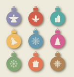 Set Christmas Balls With Traditional Elements - Angel, Holly Berry, Candle, Snowflakes, Bell, Tree, Gift Stock Image