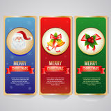 Set Christmas Banner. 3 Christmas banner with santa,bell, and other decoration item Stock Image