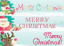 Set of christmas banner. Vector banners with Santa Claus, snowman, Red-Nosed Reindeer, branches of fir tree and christmas decoration  and inscription Merry Stock Photos