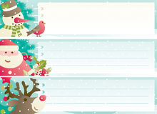 Set of christmas banner. Vector banners with Santa Claus, snowman, Red-Nosed Reindeer, branches of fir tree and christmas decoration  and copy space Stock Photos