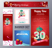 Set of christmas banner vector illustration Stock Images