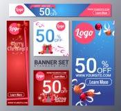 Set of christmas banner vector illustration royalty free illustration