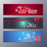 Set of christmas banner vector illustration. Standard web design size Royalty Free Stock Photography