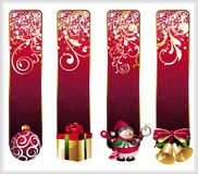 Set of christmas banners. Christmas box gift snowflake holly bell snowman holiday floral Vector Illustration
