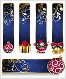 Set of christmas banners. Banner floral snowman bell ball bow gift box Stock Photo