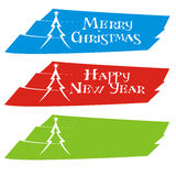 Set of christmas banners. With christmas tree Royalty Free Stock Image