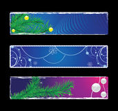 Set of christmas banners. With christmas tree, bals, stars, snowflakes Royalty Free Stock Photos