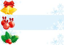 Set of christmas banners. Christmas Vector banners with hand bells, baubles and holly decoration Royalty Free Stock Photo