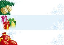 Set of christmas banners. Christmas banners with gift boxes, bags and fir cones and branches for web design Royalty Free Stock Photography