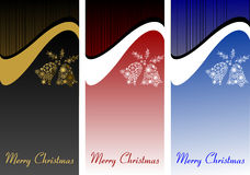 A set of Christmas banners, cards with white bells. Festive back Stock Images