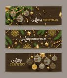 Set of Christmas banners. Christmas decor on a wooden background. Royalty Free Stock Photography