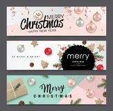 Set of Christmas banners design. With ribbons, Christmas ornaments, cookies, pine cones and fir branches Stock Images