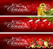 Set of christmas banners with gift boxes,bells and balls Royalty Free Stock Photos