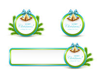 Set of Christmas banners with golden bells and blue bow. Set of Christmas cards and banner with golden bells, blue bow and fir tree branches on white background Stock Image